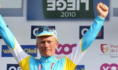 epa02131385 Kazakhstan's Alexander Vinokourov of team Astana celebrates on the podium after winning the 96th edition of the one day cycling race Liege-Bastogne-Liege, 258 km from Liege to Ans (Liege), Belgium, 25 April 2010.  EPA/LALMAND-DOPPAGNE-KRAKOWSKI BELGIUM OUT