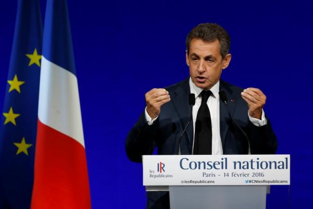 Former French president Nicolas Sarkozy, head of France's Les Republicains political party, speaks on the second day of his party's national council in Paris, France, February 14, 2016. REUTERS/Jacky Naegelen