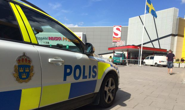 A police car is seen in front of an Ikea store in Vasteras
