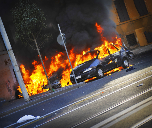 Riots - Cars on fire