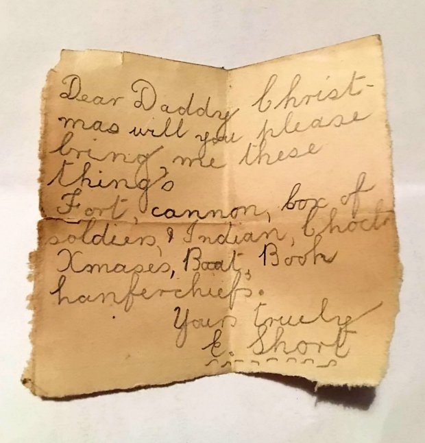 A childís almost a century old letter to Santa has been found up a chimney. See NATIONAL story MNSANTA; The 91-year-old note was discovered buried under rubble during building work last week. Still legible through brown stain patches, the note asks