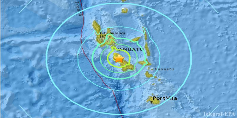 epa05281931 An image provided by the United States Geological Survey (USGS) shows a map of the location and epicentre of the 7.0 magnitude earthquake registered in Vanuatu on 29 April 2016. A tsunami warning for the region has been issued, but so far no damage reported.  EPA/USGS / HANDOUT  HANDOUT EDITORIAL USE ONLY